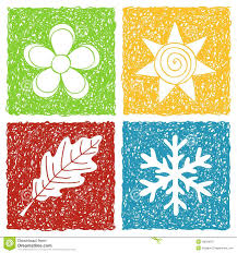 4 Seasons Chart Four Seasons Doodle Icons Stock Vector Illustration Of