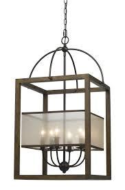 mission 19 inch wide 6 light rectangular pendant chandelier in wood metal