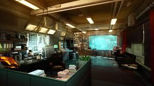 free office wallpaper. Video Games Room Futuristic Vehicle Indoors Office Interior Design Deus Ex X Rays Lighting Screenshot Free Wallpaper