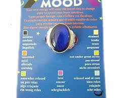 Mood Ring Oval Shaped On A Card With Colour Coded Chart