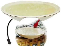A Heated Bird Bath Provides Water For Birds During Winter Keeps Unfrozen Even At -20 F