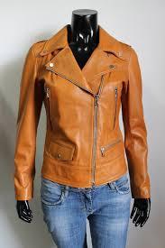 women genuine leather biker jacket slim fit color tan