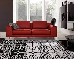 red leather sofa living room decor