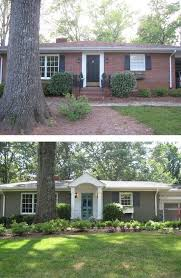 brick houses painted before and after | This brick ranch gained curb appeal  with a new