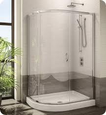 fleurco fa483 11 65 signature capri half round frameless curved glass sliding shower door with hardware finish bright chrome and glass type prism glass