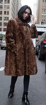 brown sculpted mink fur coat 45352