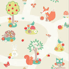 Kids Wallpaper For Bedroom Animals Wallpaper Kids Bedroom Dinosaurs Fox Owls Rabbits