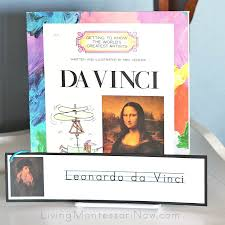 leonardo da vinci book with artist name writing and tracing cards