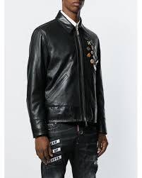 dsquared² black embellished leather jacket for men lyst