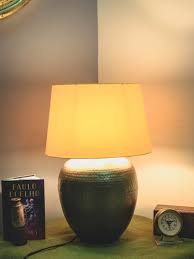 Energetic Vibrant Yellow Desk Lampshade Brass Pot Shaped Table Lamp