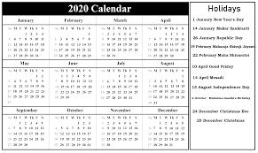 Printable Indian 2020 Calendar Template Pdf Excel Word