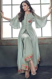 Latest Bollywood Salwar Suit Designs Milan Silk Bollywood Salwar Kameez In Black And Grey With
