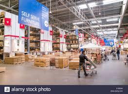 warehouse area of ikea furniture store england uk E19GA5