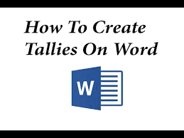 How To Make Tallies In Ms Word 2013