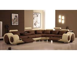 Furniture Vig Furniture 4087 Brown And Beige Sectional Sofa