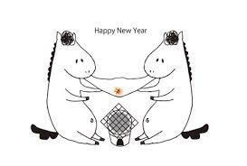 白背景白馬とお餅無料年賀状イラスト