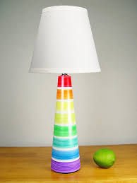 Adorable Rainbow Painted Lamp For Kids Bedroom.
