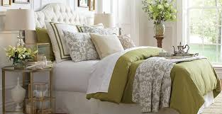 olive green bedding with white backgrounds