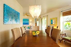 tropical dining room furniture. Tropical Dining Room Large Blue Painting With Roller Blinds And Eclectic Furniture