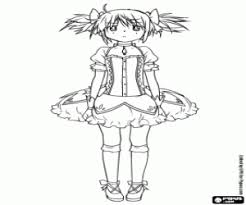 Small Picture Madoka Kaname anime character coloring page printable game