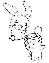 Pikachu Plusle And Minun Electric Pokemon Coloring Page Pikachu