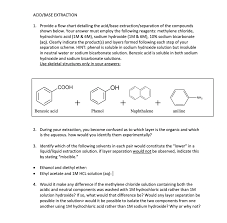 Benzoic Acid Extraction Flow Chart Solved Acid Base Extraction Provide A Flow Chart Detailin