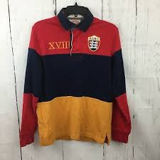 vtg brooks brothers polo rugby shirt red blue yellow striped l s crest medium