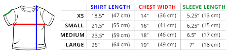 Standard Fit Size Chart Sizing Guide Teeturtle