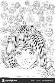 かわいい女の子大人の塗り絵のパターン ストックベクター Imhope