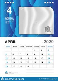 April 2020 Template April 2020 Year Template Calendar 2020 Vector Desk