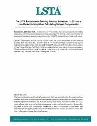 Loan Market Holiday Veterans Day November 11 2019 Lsta