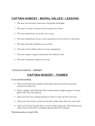 captain nobody moral value and theme forgiveness