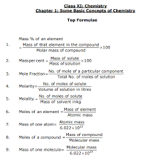 Important Chemistry Formula Chart Cbse Class 11 Some Basic Concepts Of Chemistry Formulae