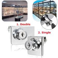 single double glass cabinet door lock cam key showcase display locking with 2 keys