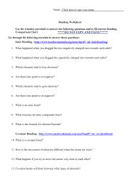 Bonding Comparison Chart Come Together Chemical Bonding Worksheet