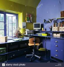 lime green office. Storage Boxes And Small Computer Monitor On Fitted Desk In Bright Blue Lime-green Home-office Lime Green Office I