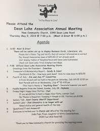 Meet And Greet Meeting Agenda Annual Association Meeting May 9 2019 Dean Lake