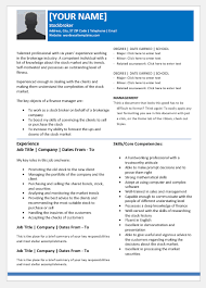 Stockbroker Resume Templates For Word Word Excel Templates