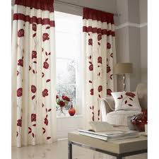 fl trail red faux silk fully lined pencil pleat curtains