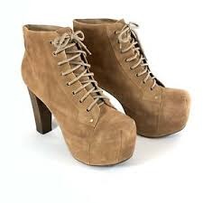 Details About Jeffrey Campbell Lita Heels Booties Suede Leather Lace Up Platform Shoes 11