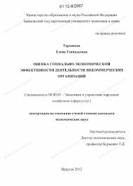 Диссертация на тему Оценка социально экономической эффективности  Диссертация и автореферат на тему Оценка социально экономической эффективности деятельности некоммерческих организаций