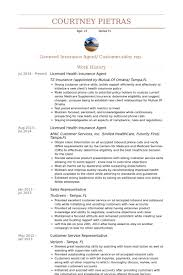 Licensed Health Insurance Agent Resume samples