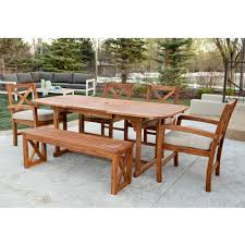 6 piece x back acacia patio dining set with cushions