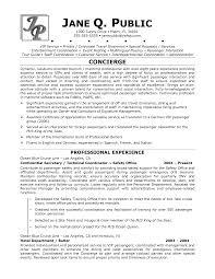 Concierge Resume Resume Templates
