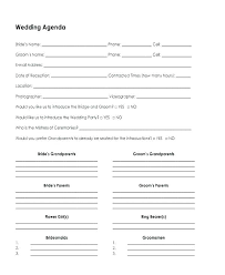 Party Agenda Templates Wedding Agenda Template Small Schedule Bridal Party