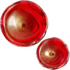 Gold Decorative Bowl Archimede Seguso Murano Red And Gold Italian Art Glass Decorative