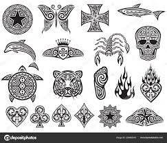 Tetování Tribal Ikony Set Návrhové Prvky Hvězda Motýl Kříž žralok