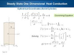 23 page 23 steady state one dimensional heat conduction cylindrical coordinates solid cylinder t t 1 0 r t t 2 b governing equation solving