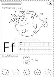 Cartoon Fish And Face. Alphabet Tracing Worksheet: Writing A-Z A ...