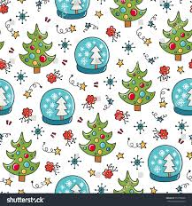 Doodles Christmas seamless pattern. Color vector background, new year  theme. Illustration with tree